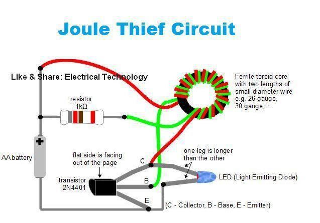 Circuit Diagram For Jeanna39s Light Variation Of Joule Thief Circuit