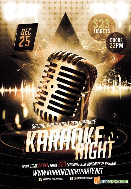 Karaoke Night – Premium Flyer Template Http://Www.Exclusiveflyer