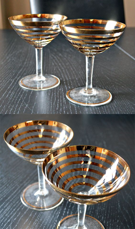 Vintage Gold Gilt Striped Martini Coupe Glasses Clean Toilet