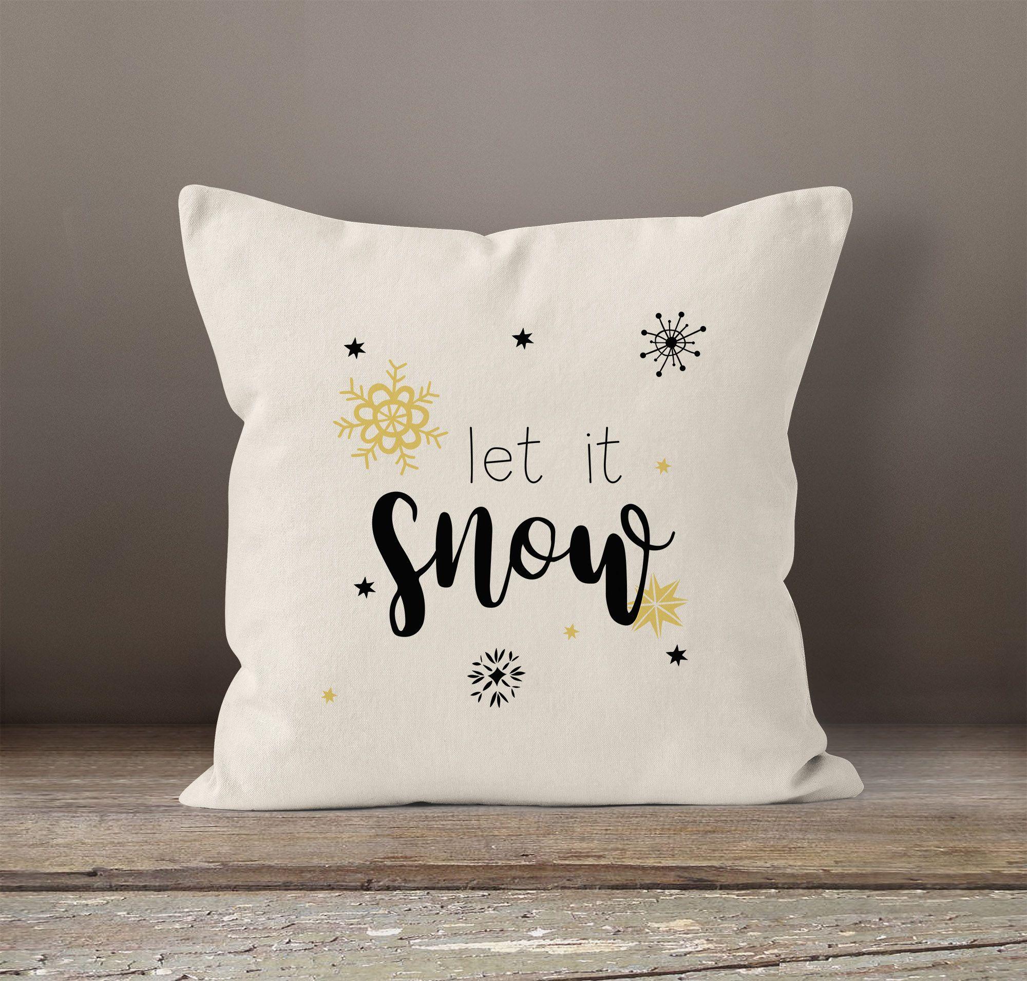 Kissenbezug Weihnachten Winter Let It Snow Spruch Schnee