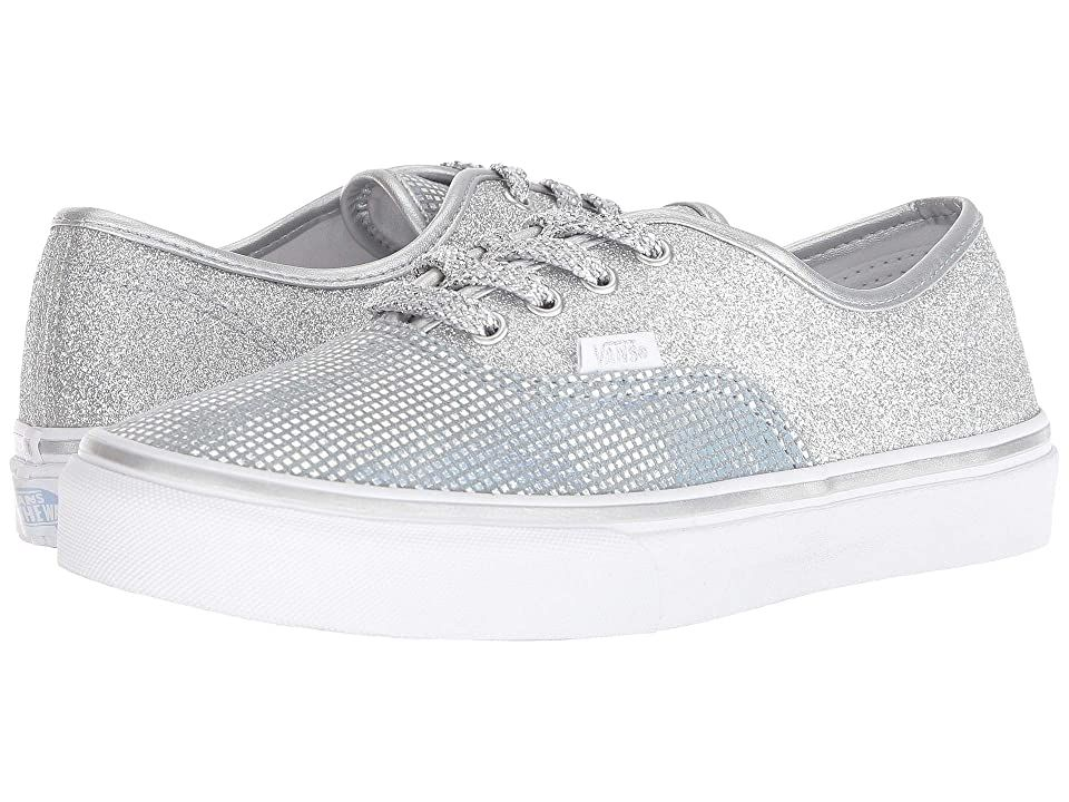 Vans Kids Authentic (Little Kid/Big Kid) ((Metallic Glitter) Silver) Girls Shoes. Live the iconic life in the Vans Kids Authentic! Durable canvas upper that is lightweight and flexible. Lace-up closure for a comfortable and snug fit. Textile lining for a great in-shoe feel. Non-marking rubber outsole. Measurements: Weight: 8 oz Product measurements were taken using size 12.5 Little Kid  width M. Please note that measurements m #VansKids #Shoes #Athletic #Skate #Silver