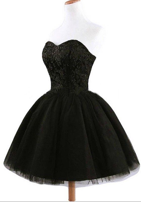 d43cea856073 Women s Black Plain Grenadine Strapless Lace-Up Ball Gown Sweet Tutu Mini  Dress