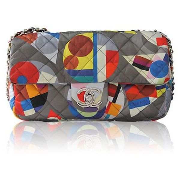 Pre-Owned Chanel Limited Edition Multicolor Nylon Quilted Shoulder Bag... ($4,205) ❤ liked on Polyvore featuring bags, handbags, multi, chain strap purse, handbags shoulder bags, chanel purse, chain strap handbag and nylon handbags
