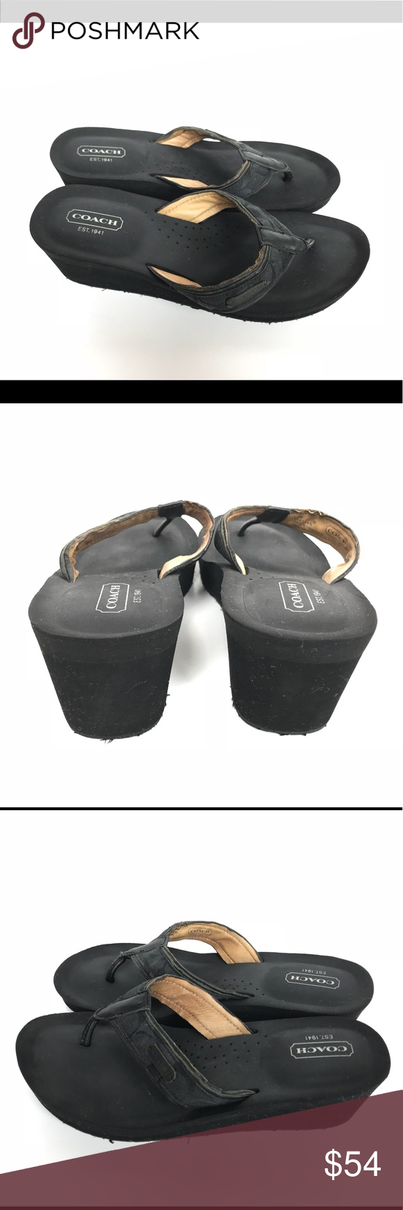 5ce937892a8d Coach Juliet Black Wedge Flip Flop Thong Sandals 8 Coach Juliet Black Flip  Flop Thong Sandals Women s Size 8 Great condition Coach Shoes Sandals