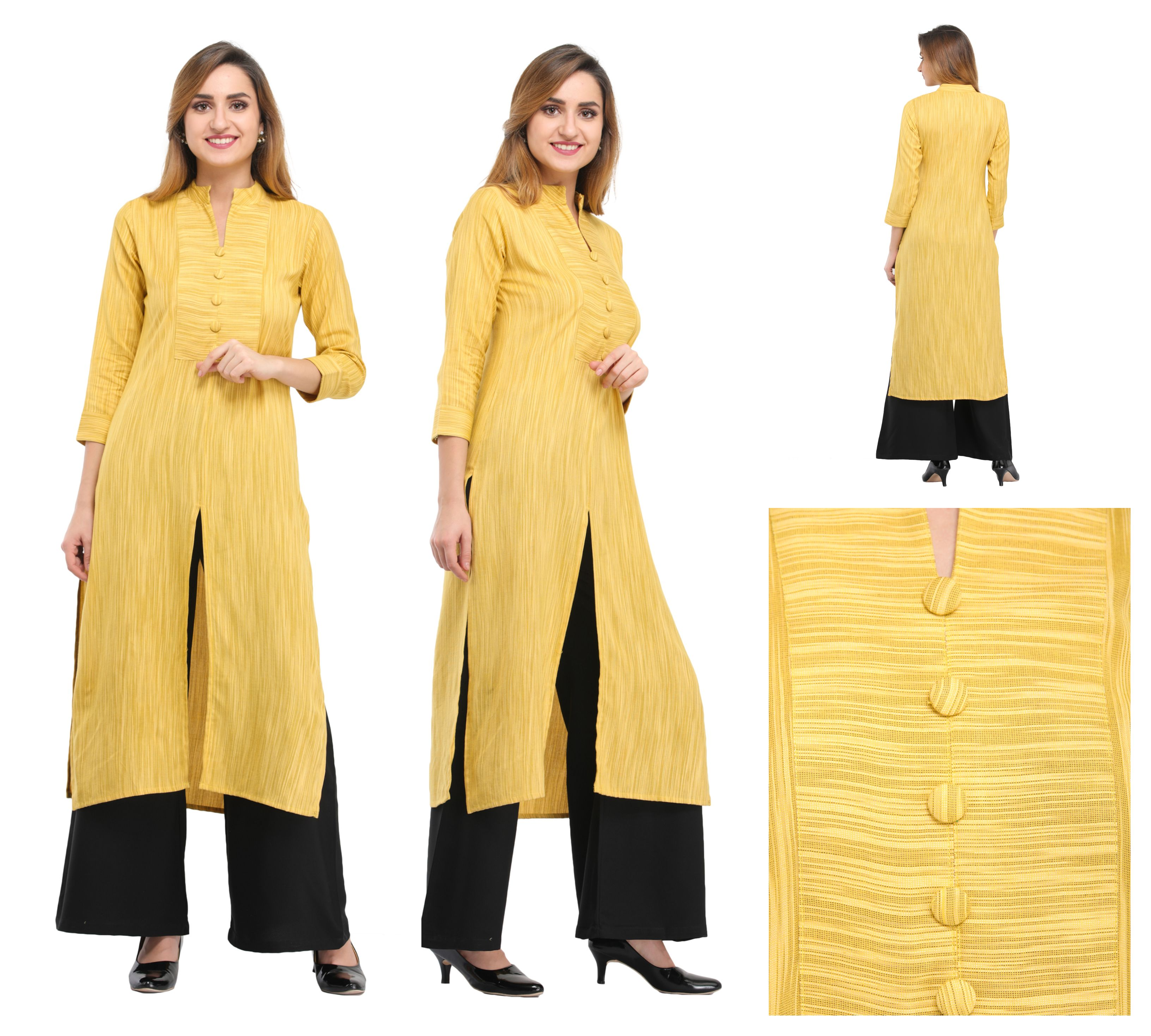 yellow textured kurti top from buyjama   Online fashion stores ...