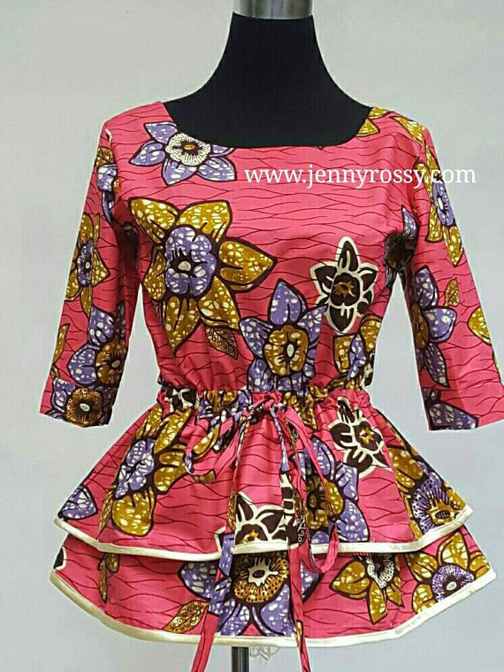 African clothing ,African top,ankara style blouse ,African double ...