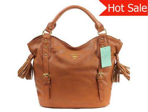 99d03604067d Cheap Prada Buckle Tassels Soft Calf Leather Handbag Brown Pin It PRADA15541