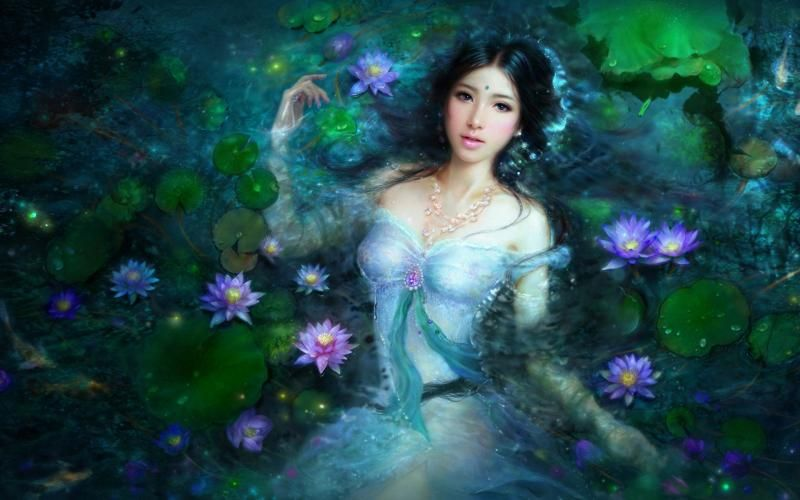 Lotus Girl - 3D and CG &amp- Abstract Background Wallpapers on Desktop ...