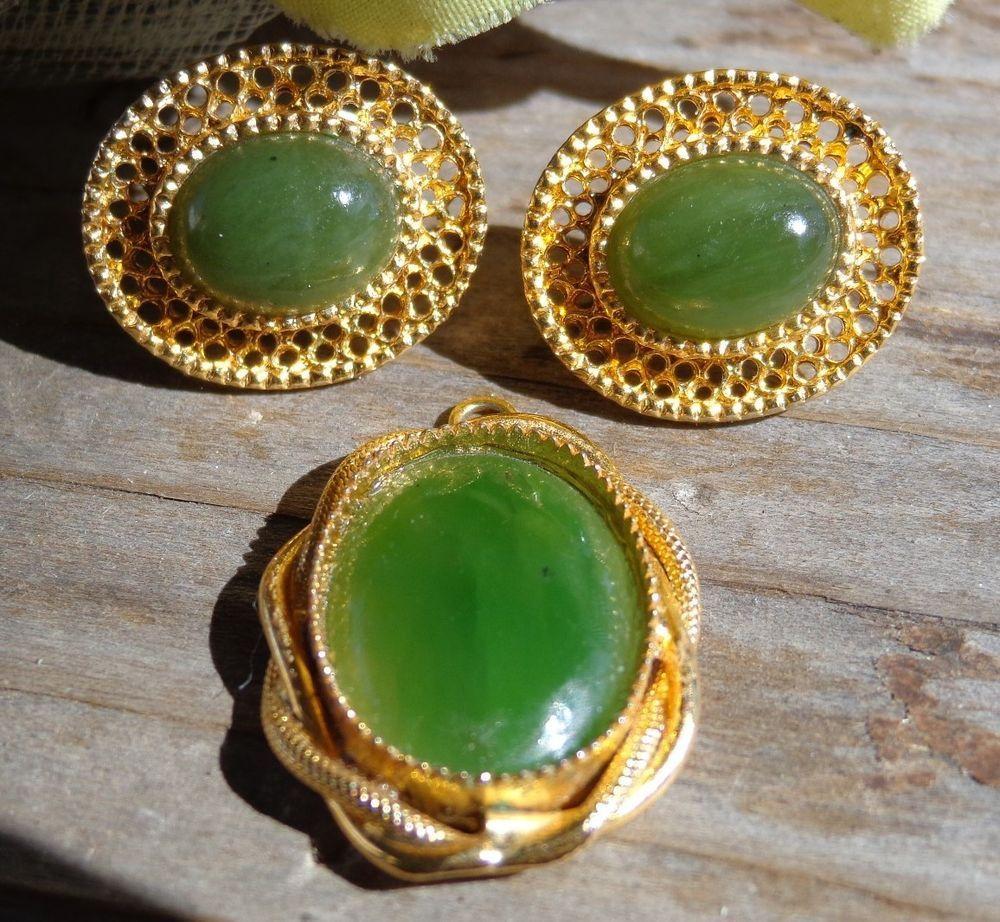 Estate vtg designer green chrysoprase cabochon pendant earrings