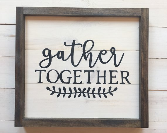 Small Gather Together Wood Sign   Gather Sign   Simple Fall Decor   Farmhouse Wall Decor ...