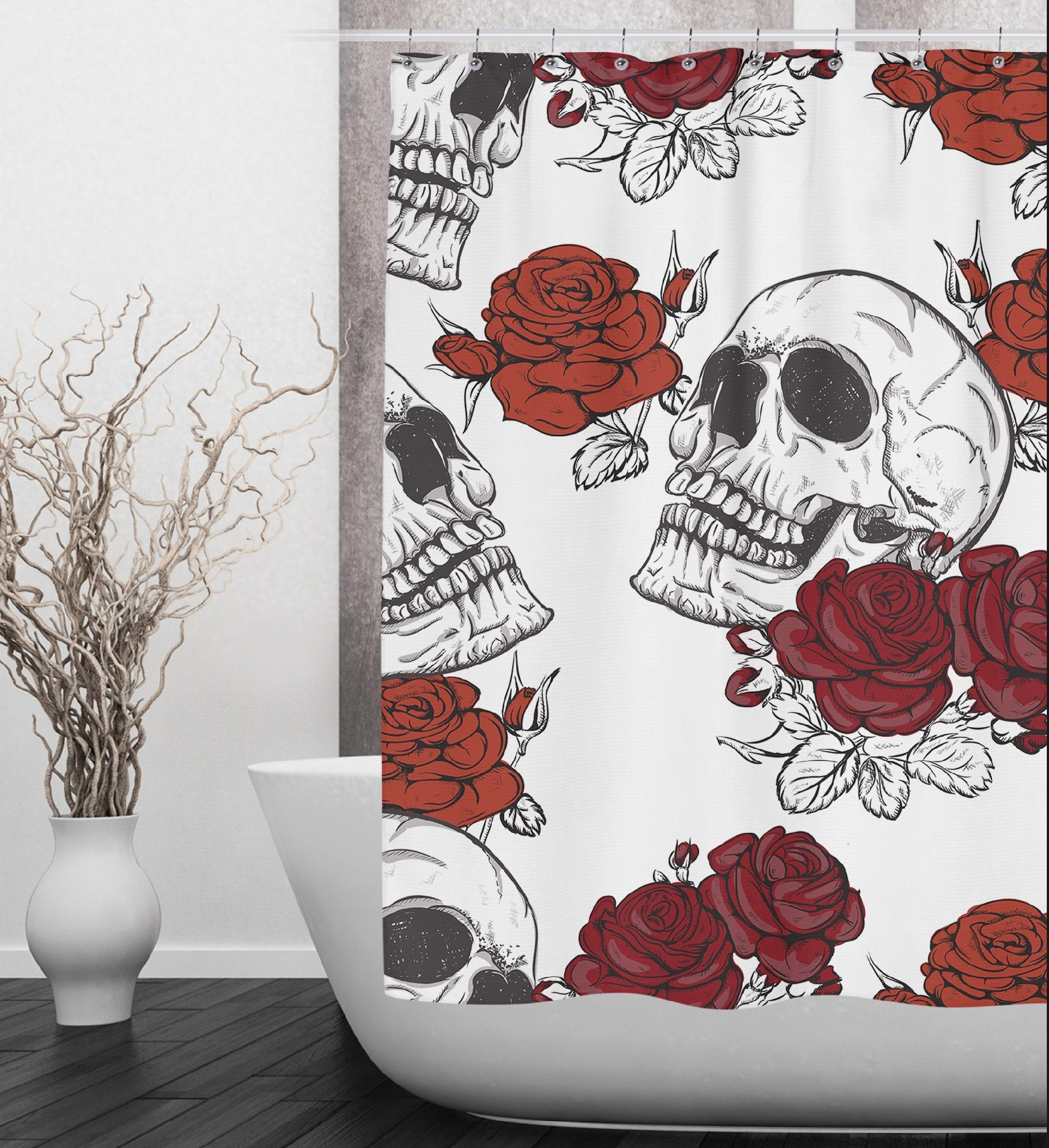 Black Book With Red Rose Shower Curtain Bathroom Decor Diy