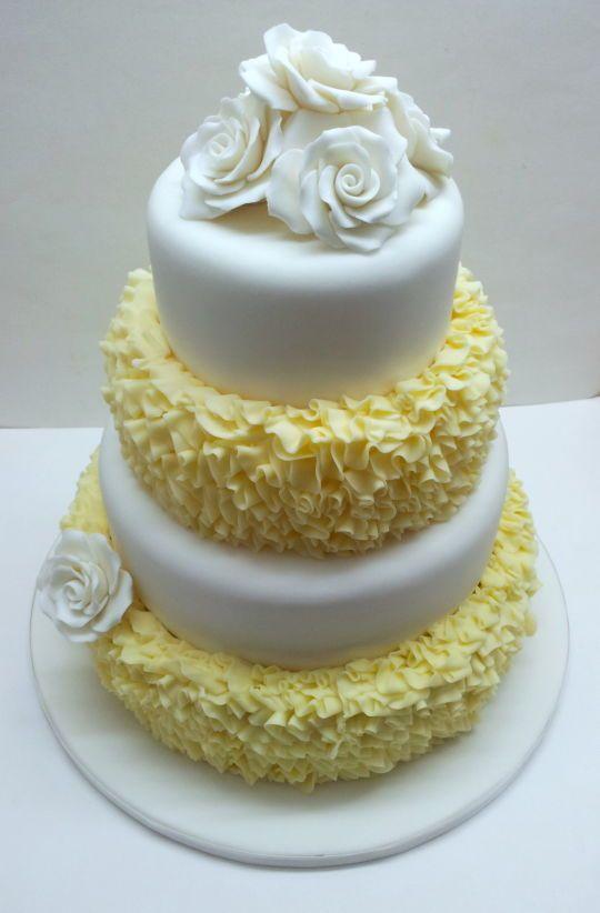 Messy Ruffle Buttercream Wedding Cake