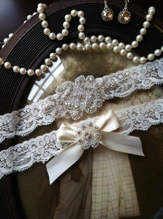 Shabby Chic Ivory Lace Garter Keepsake Garter Rhinestone Pearl Wedding Garter SALE-Wedding Garter Bridal Garter Vintage Garter