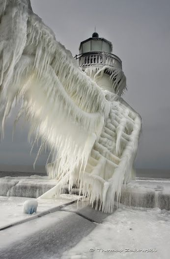 Frozen all around the lighthouse...heavy with ice....