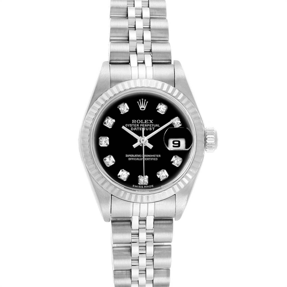 Rolex Datejust Steel White Gold Black Diamond Dial Ladies Watch 79174 Rolex Datejust Rolex Watches Women