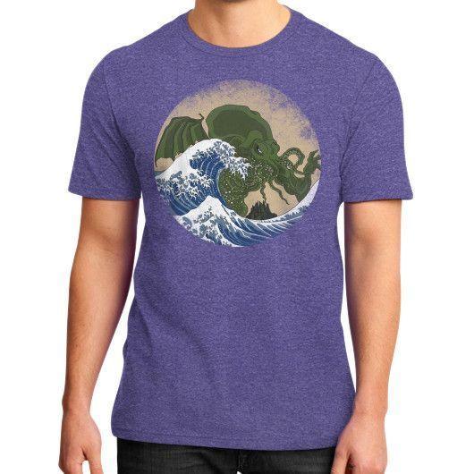 Hokusai Cthulhu District T-Shirt (on man)