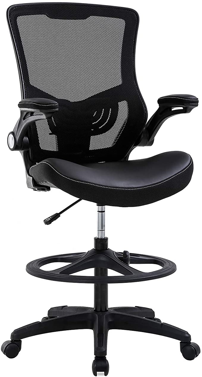 Amazon Com Drafting Chair Ergonomic Tall Office Chair With Flip Up Arms Foot Rest Back Support Adjustable Heigh In 2020 Drafting Chair Tall Office Chairs Office Chair