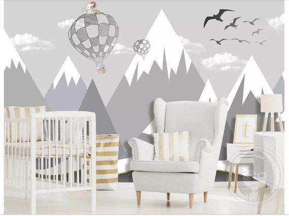 Hand Painted Grey Geometric Mountains Nursery Wallpaper