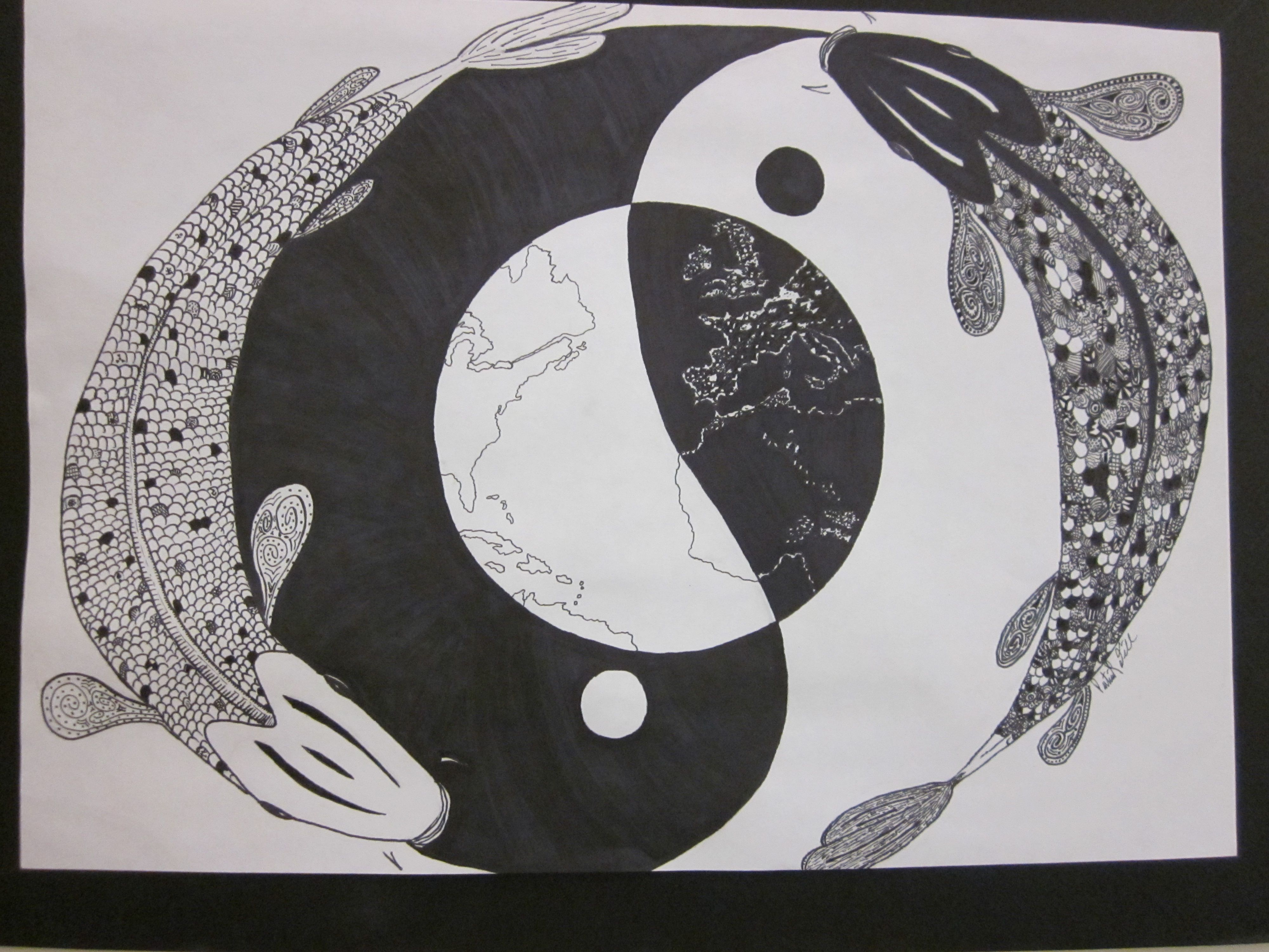 Line Detail Inspired By Fish And Yin Yang