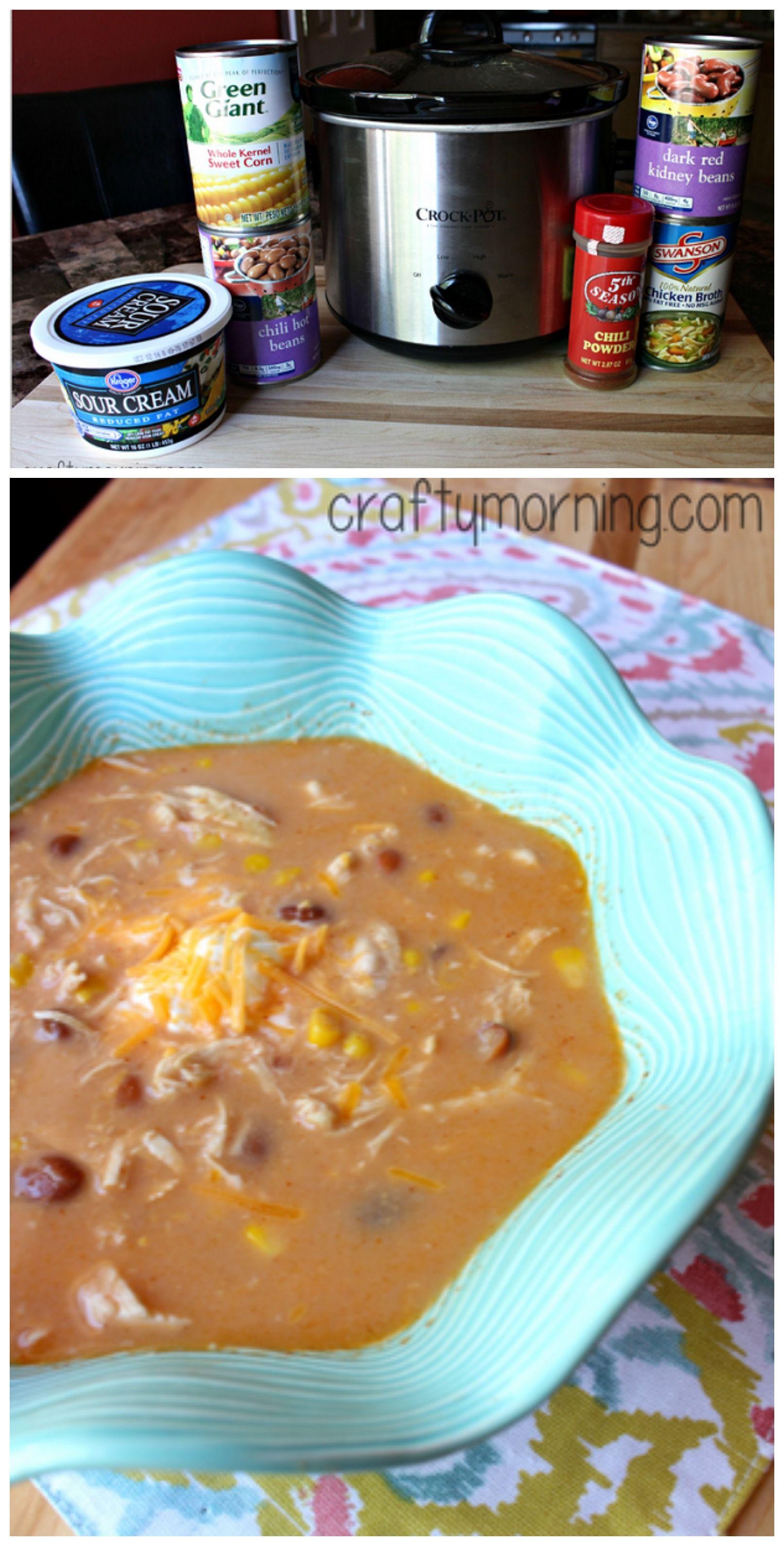 Easy Crockpot Chicken Chili Recipe #Slowcooker chicken chili | CraftyMorning.com