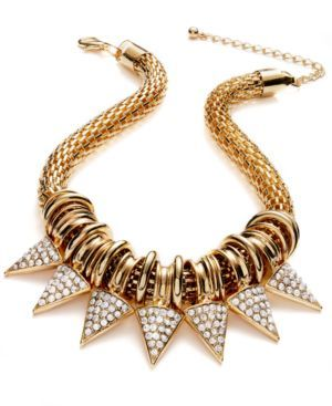 Glass Spiked Statement Necklace