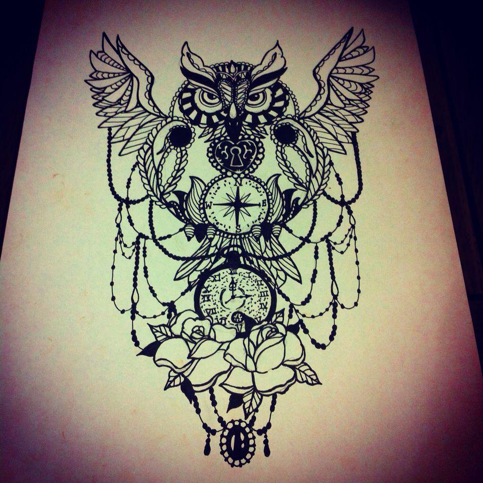 Owl Tattoo Art Clock Compass Clock Tattoo Design Owl Tattoo Drawings Geometric Tattoo