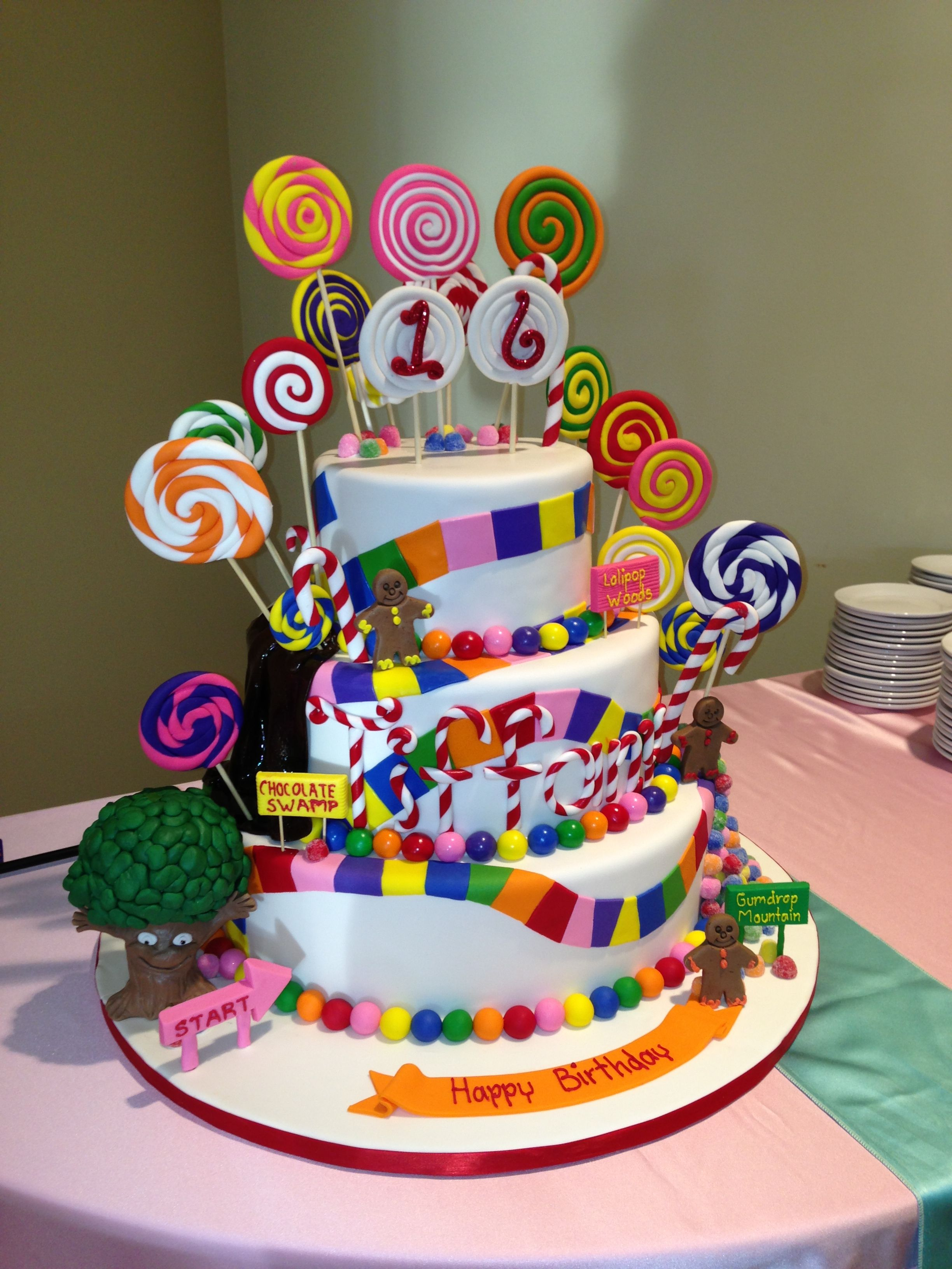 Marvelous Sweet 16 Cake From Cakes By Gina In Houston Candyland Cake Personalised Birthday Cards Paralily Jamesorg