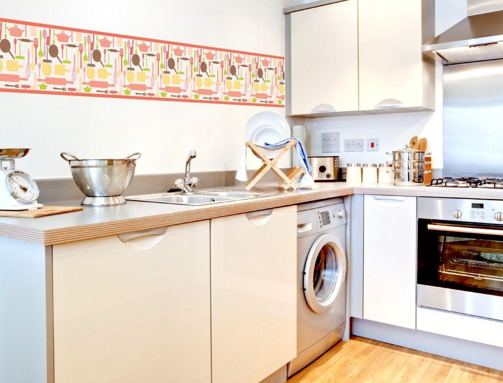 Bunte Küchenbordüre mit Küchengeräten - I-love-Wandtattoode - wandtatoos für küche