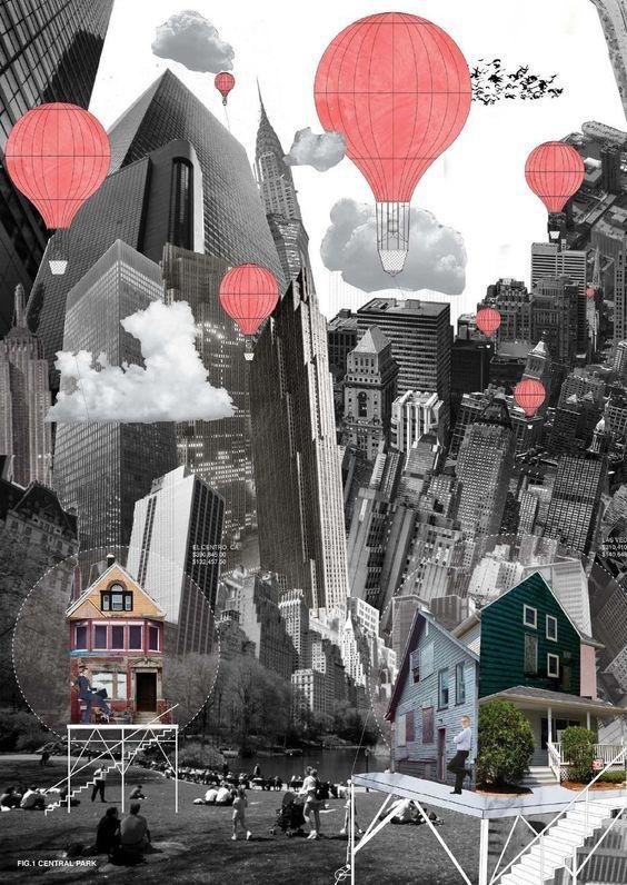 collage; architecture; landscape