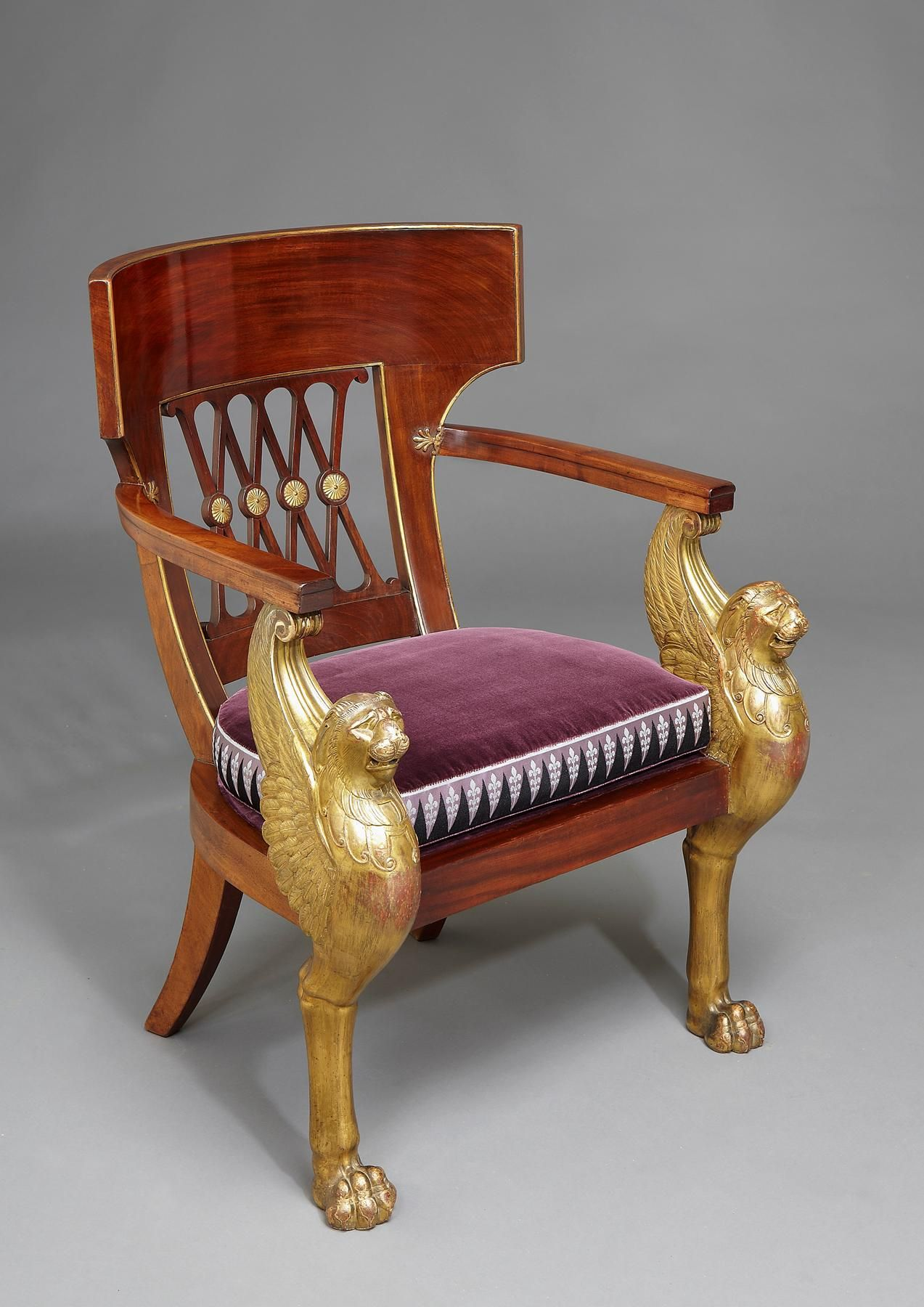 A French Consulat Mahogany And Carved Giltwood Fauteuil De Bureau By Jacob Freres Based On A Design Fauteuil Bureau Fauteuil Bureau Design Mobilier De France