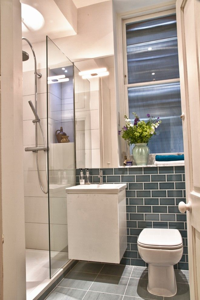 bathroom ideas for small with coloured metro tiles