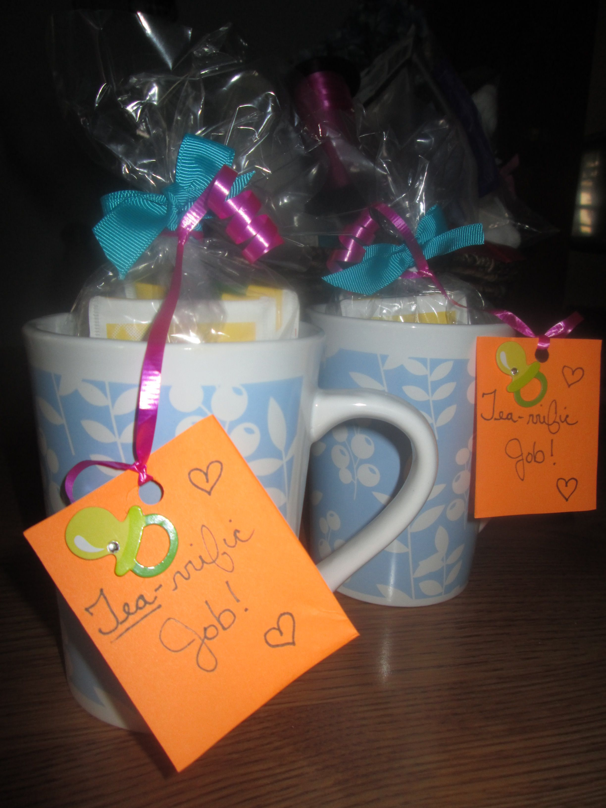 "Boy Baby shower game prizes! ""Tea-rrific Job!"" coffee/tea cups filled with tea bags and candy"