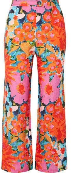abe236e984 Mara Hoffman - Arlene Floral-print Tencel And Linen-blend Flared Pants -  Pink
