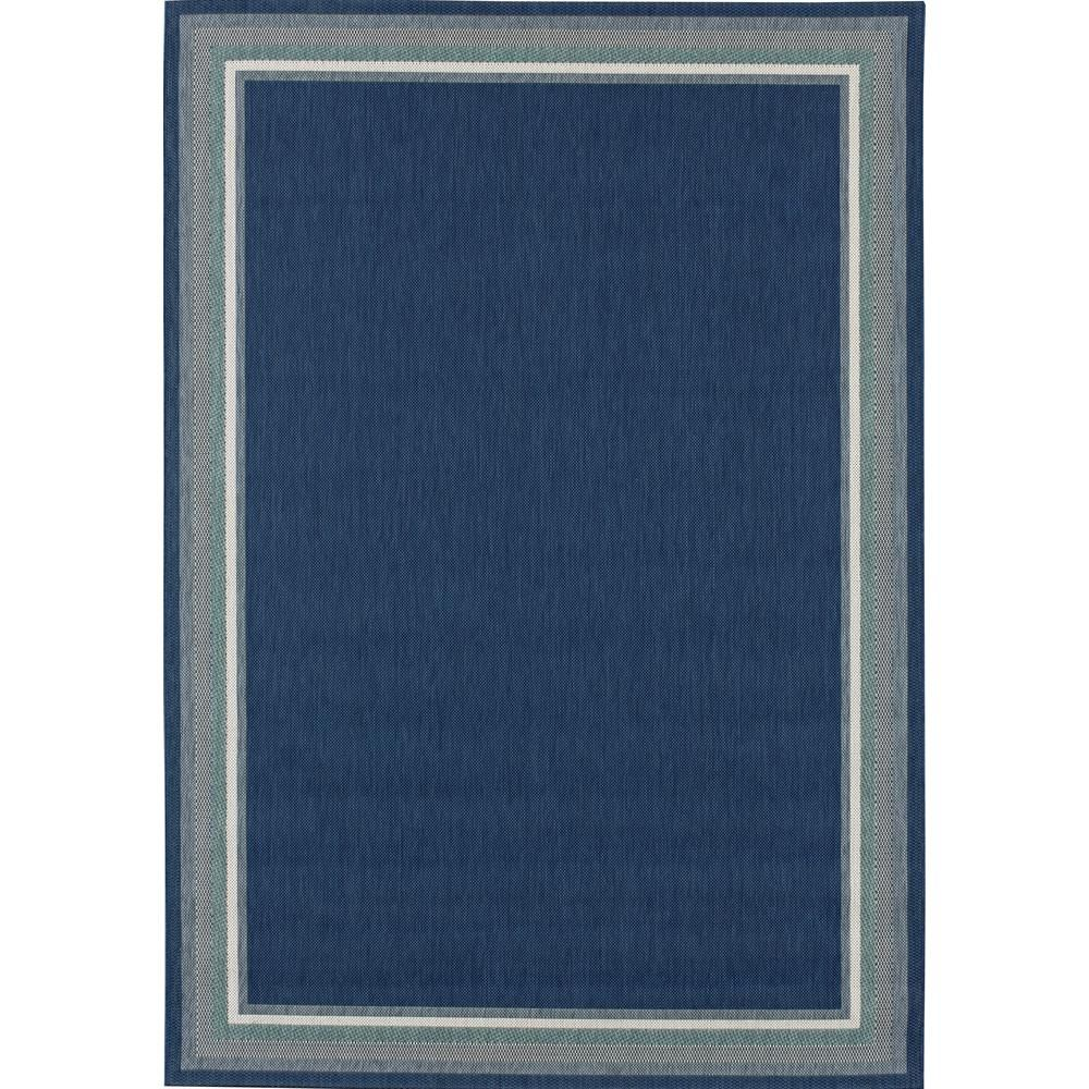 Hampton Bay Border Navy Aqua 8 Ft X 10 Indoor Outdoor Area Rug 192530992403051 The Home Depot