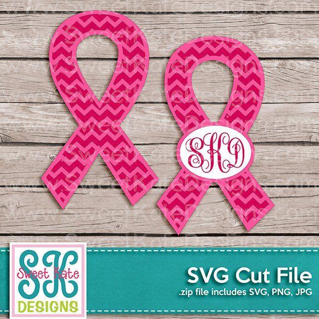 Pink Cancer Awareness Ribbon with Monogram Option Chevron SVG