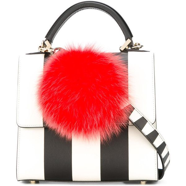 Les Petits Joueurs pompom striped tote featuring polyvore, women's fashion, bags, handbags, tote bags, black, tote handbags, tote bag purse, stripe tote, handbags tote bags and striped tote
