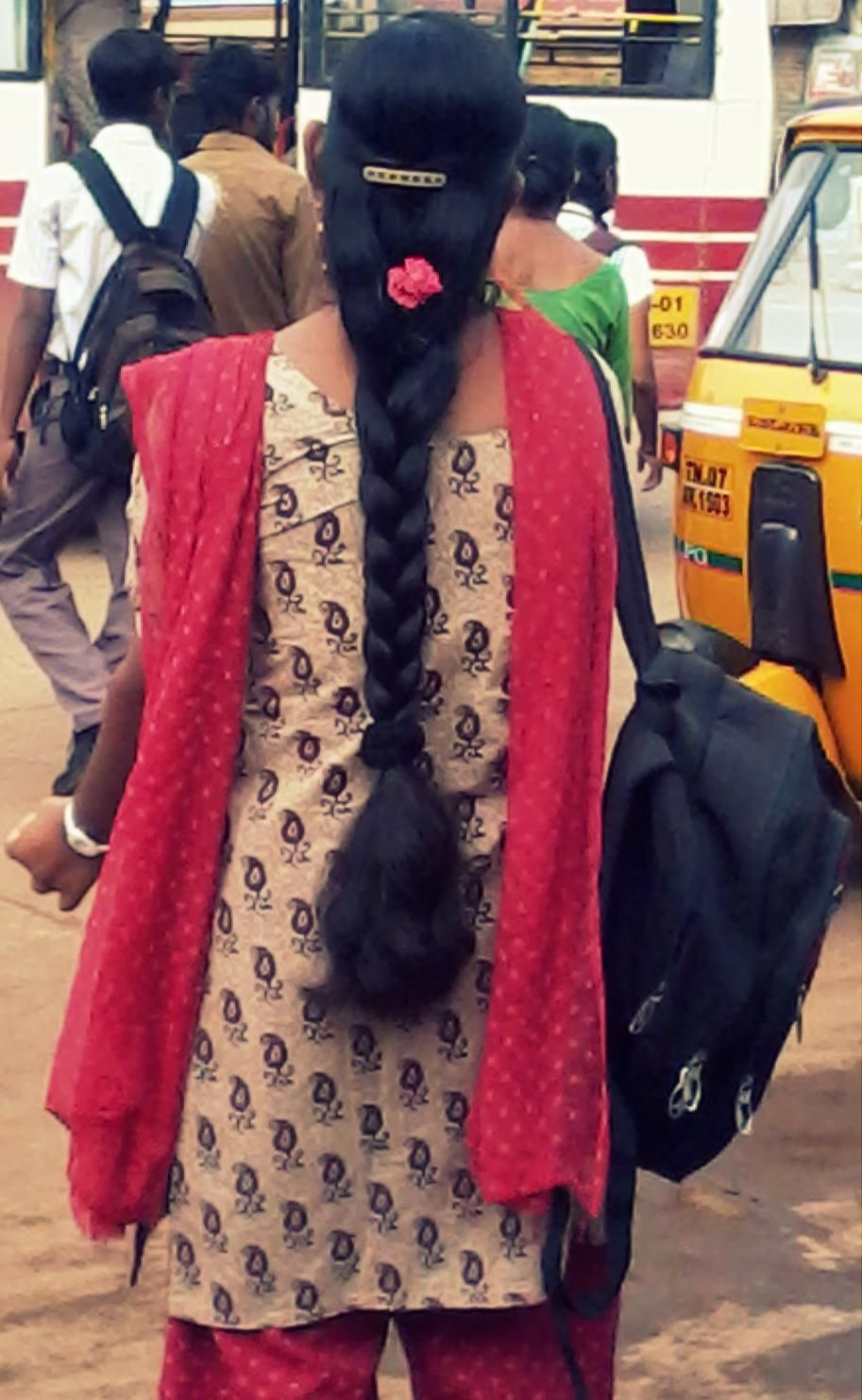 Tamil Nadu Girl In Braided Long Hair Style Decorated Wirh Rose Flower Braids For Long Hair Indian Long Hair Braid Long Hair Styles