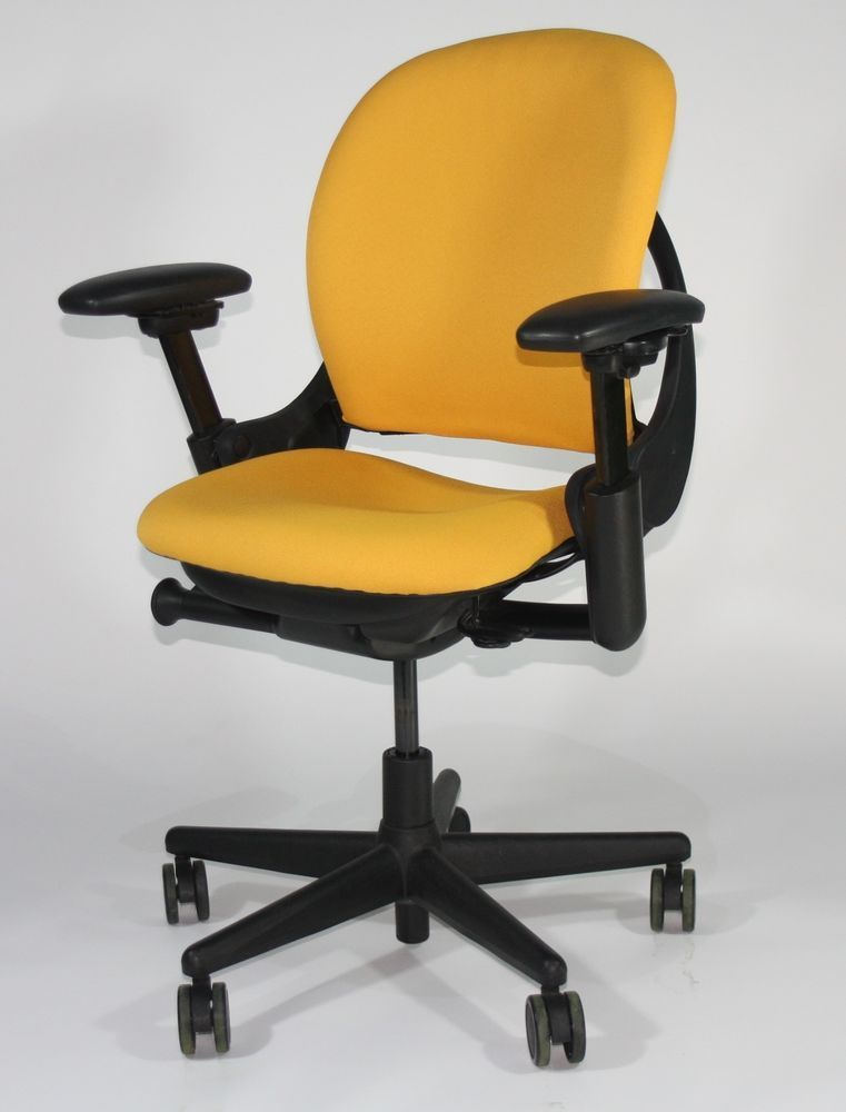 Steelcase Leap V1 Chair New Camira Yellow Fabric ( Sliding Seat ...