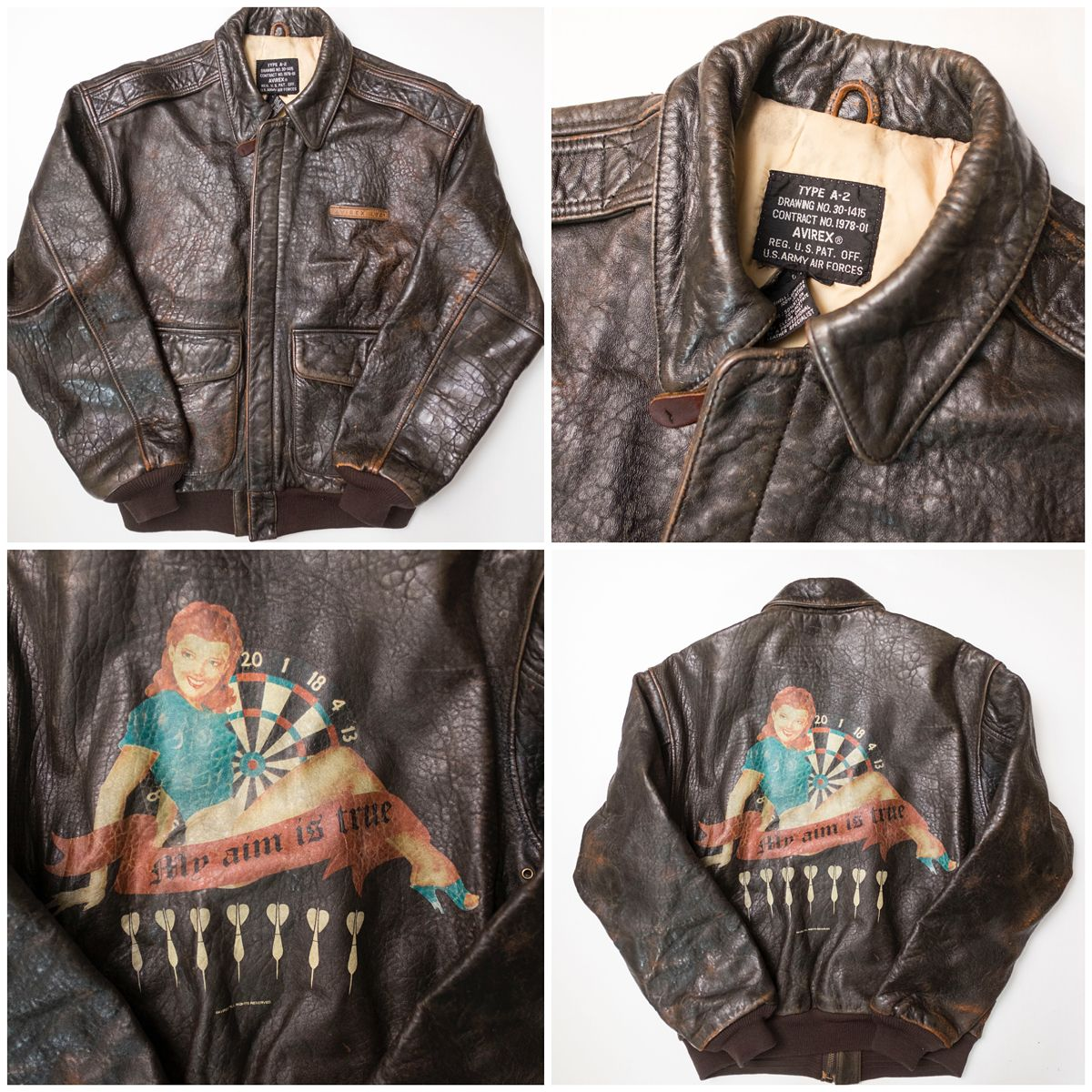 Vintage A-2 Leather Brown AVIREX Patch Patches Retro Girl Back Paint  Carrier Air Group Military Flight Bomber Jacket ( Size: S ) - Japan Lover  Me Store