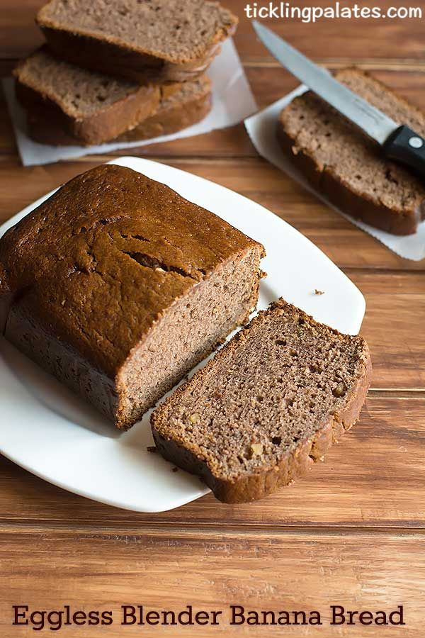eggless blender banana bread recipe - Eggless Blender Banana Bread recipe. Blend, pour and bake – A banana bread could not get any easier than this. Also this blender banana bread is gluten free, refined sugar free, egg free and butter free making it a guilt free breakfast or snack.