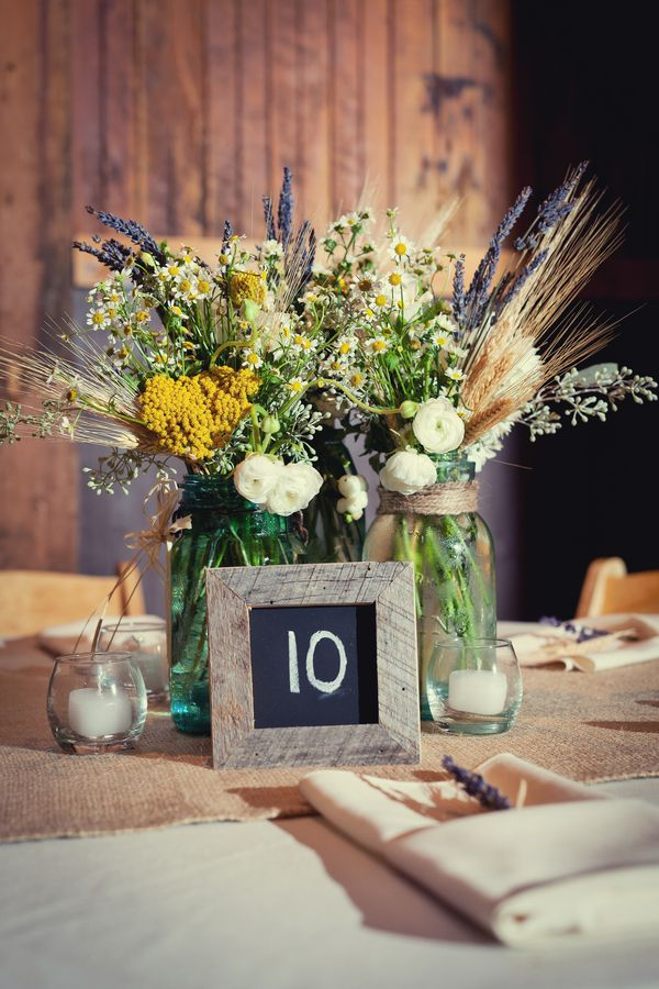 Wheat and wildflower centerpiece in mason jar mason jar for Mason jar wedding centerpiece ideas