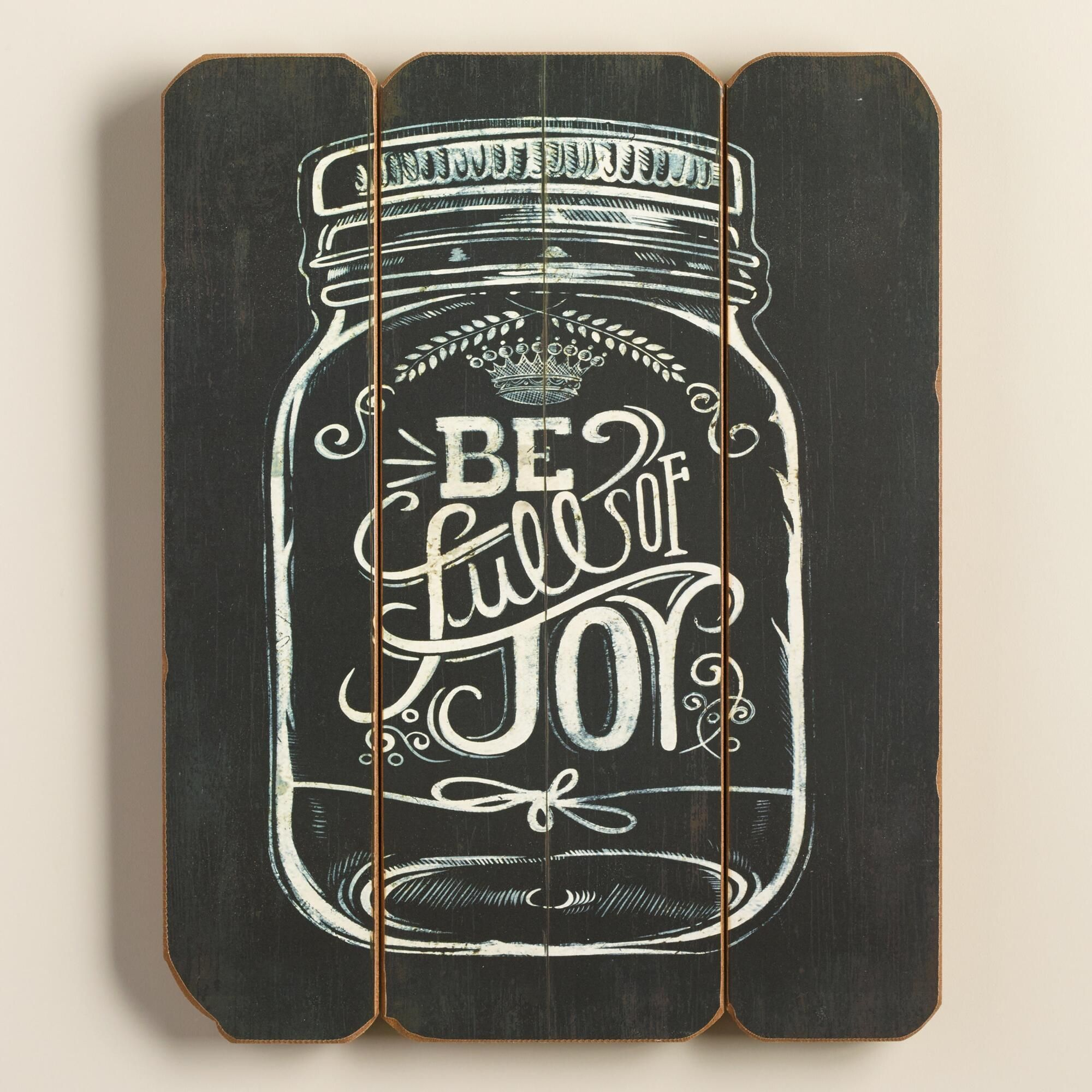 Mason Jar Wall Art be full of joy mason jar sign | wood walls, farmhouse chic and