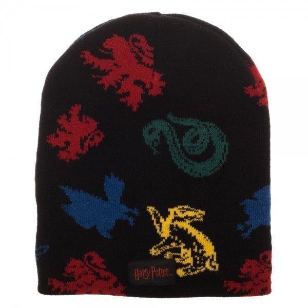 5e67b48d332 Harry Potter Jacquard Knit Slouch Beanie Hat Cap House Mascots Gryffindor  Black  Bioworld  SlouchBeanie