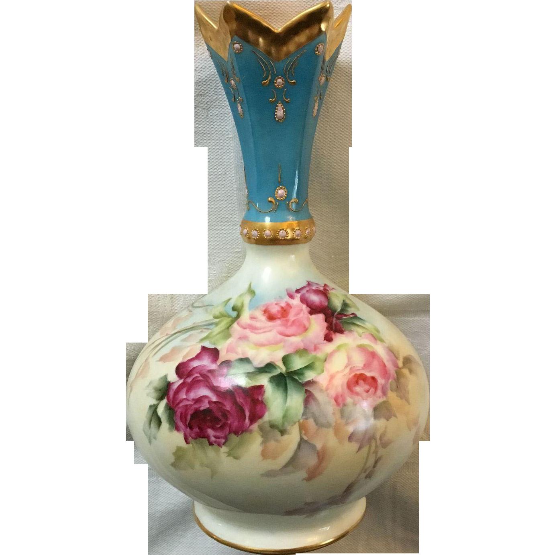 Rare antique french limoges porcelain vase with roses and rare antique french limoges porcelain vase with roses and enameling fancy pointed top reviewsmspy