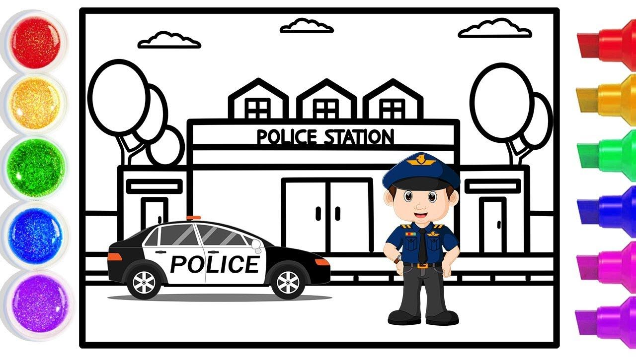 Glitter Police Station Coloring And Drawing For Kids Drawing For Kids Police Lego City Police