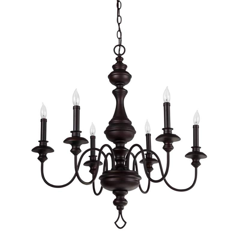 Park Harbor Phhl6316pbr Painted Bronze Cardiff 27 Wide 6 Light Single Tier Shaded Style Chandelier