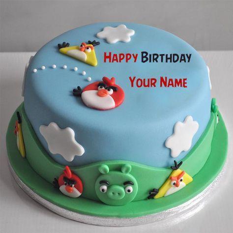 Cute Angry Birds Funny Kids Birthday Cake With Name Shravani
