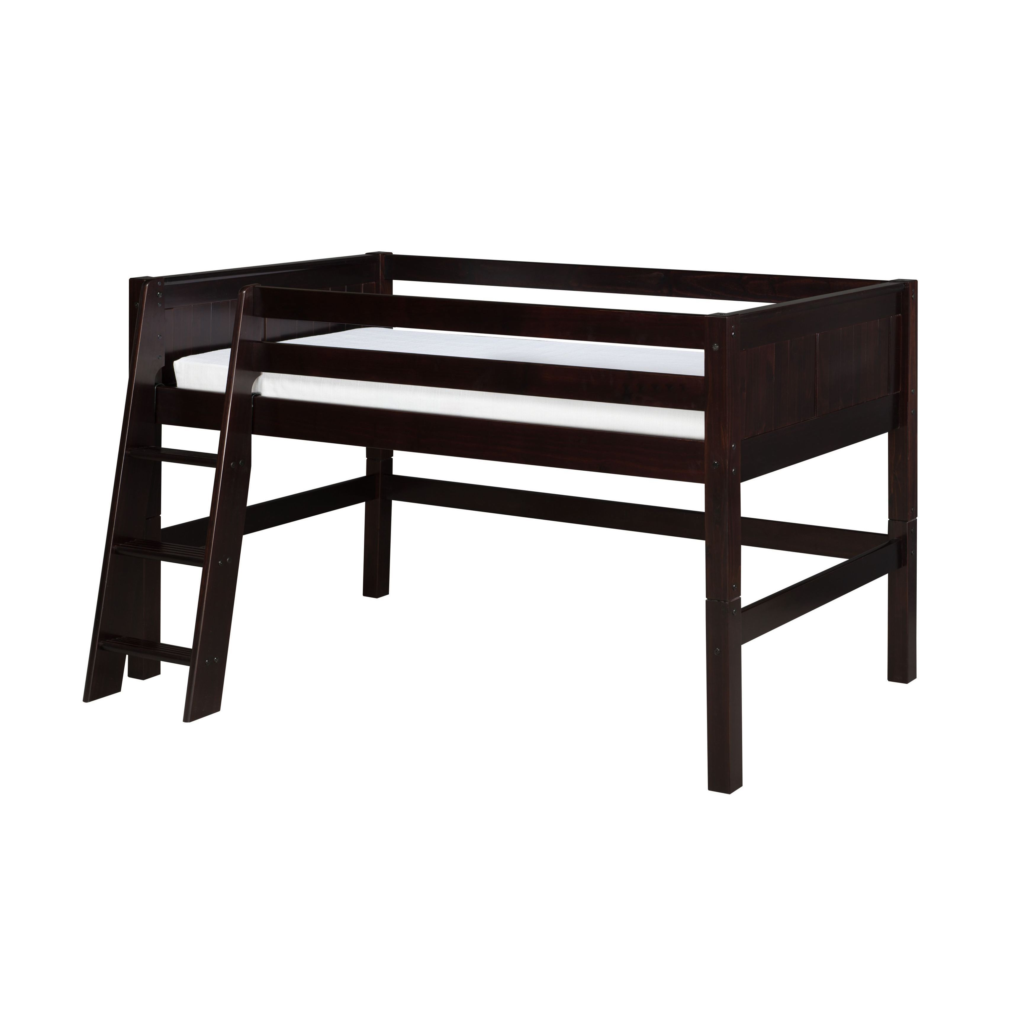 Twin loft bed dimensions  Camaflexi Twinsize Cappuccino Finish Low Loft Bed with Panel