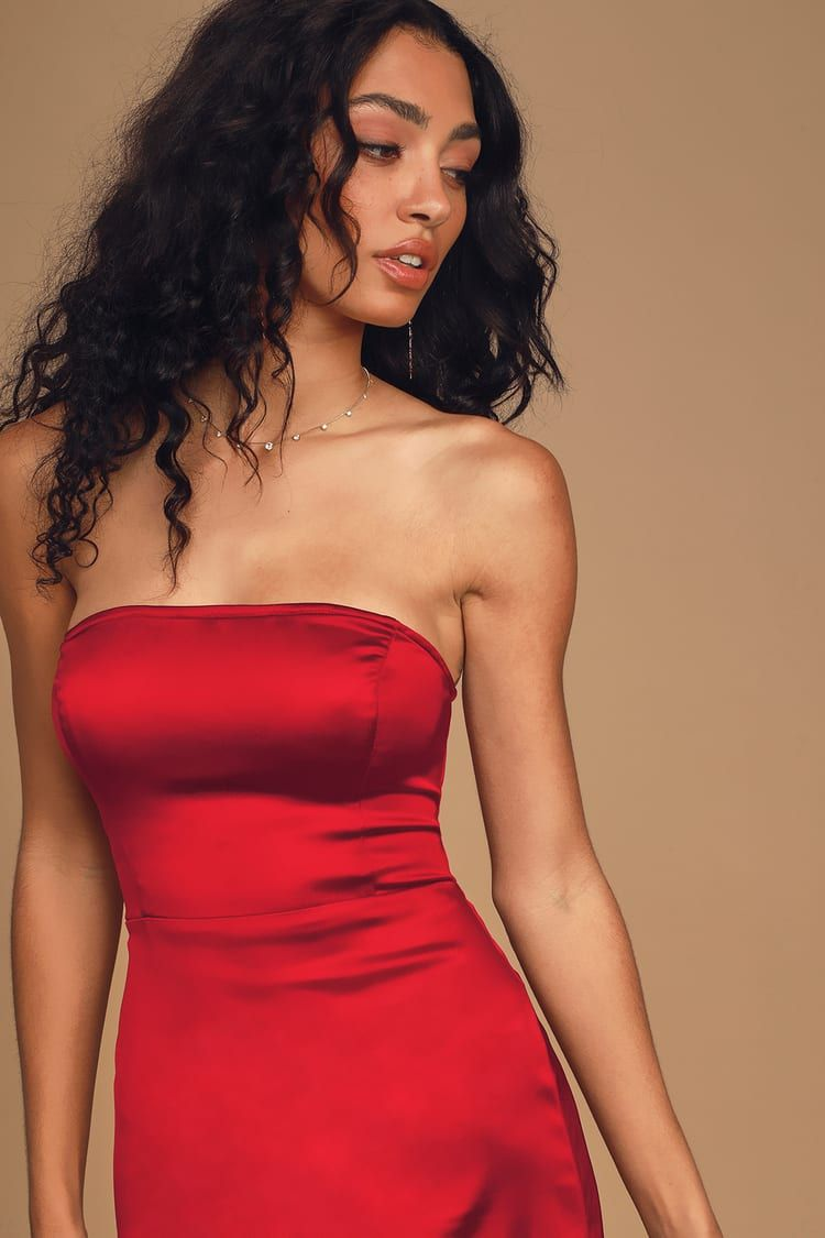 Serving Luxe Wine Red Satin Strapless Bodycon Dress Strapless Bodycon Dress Bodycon Dress Red Satin Dress [ 1125 x 750 Pixel ]