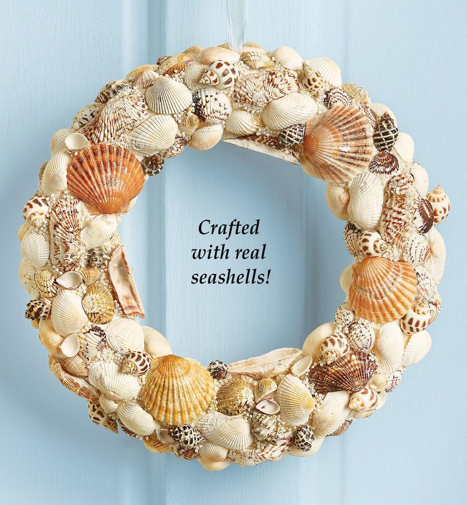 Nautical Seaside Beach Seashell Door Wreath Coastal Shells